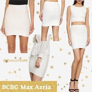 BCBG MAXAZRIA Simone Textured White Power Skirt